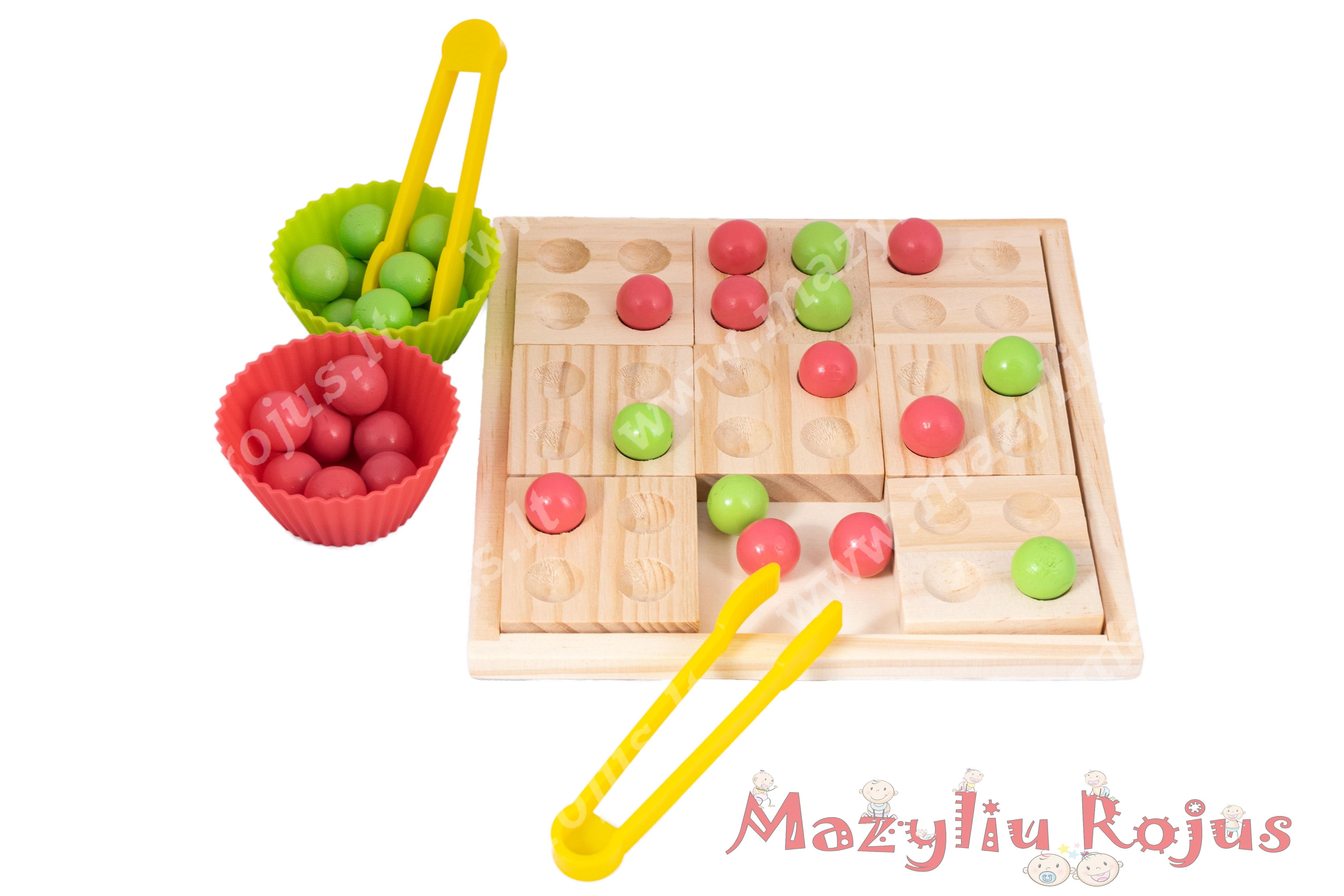 """Montessori žaidimas """"Spalvoti kamuoliukai"""""""