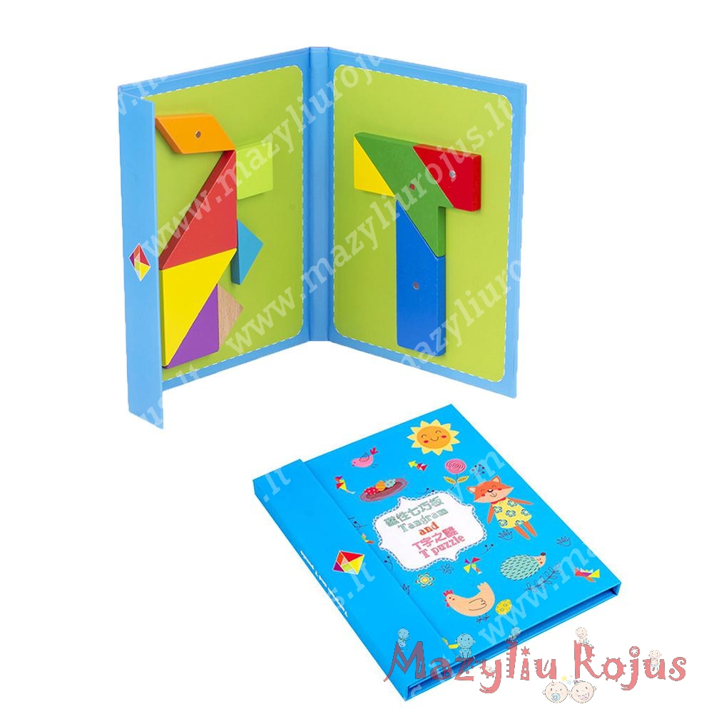 """Montessori magnetinė dėlionė """"Tangram ir T puzzle"""""""